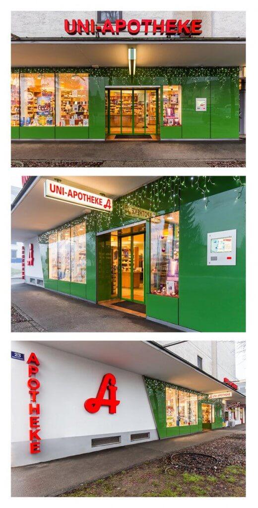 Außenaufnahmen Fotos für die Uni Apotheke in Klagenfurt am Wörthersee in Kärnten