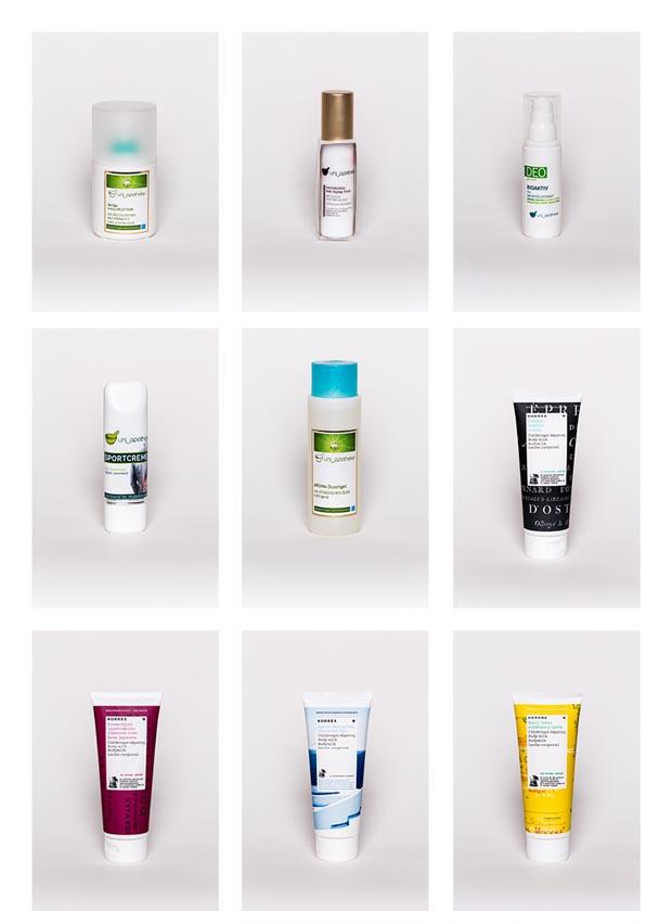 Produktfotos von Kosmetikprodukten für die Uni Apotheke in Klagenfurt am Wörthersee in Kärnten