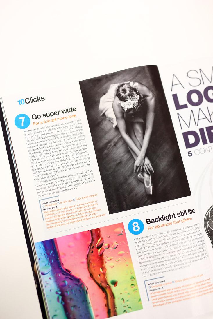 Artikel über offenblendiges fotografieren mit blitzen von mir im englischen Foto Magazin practical photography