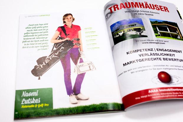 Foto von Naomi Lutskes im Unlimited Golf Magazin mit Fashion Mode Fotostrecke von Fotograf Daniel Waschnig aus Klagenfurt, Villach, Kärnten