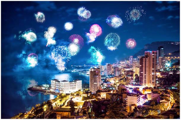 Feuerwerk Foto zu Silvester bzw. Neujahr über Monte-Carlo, Monaco von Fotografen aus Villach, Kärnten, Österreich