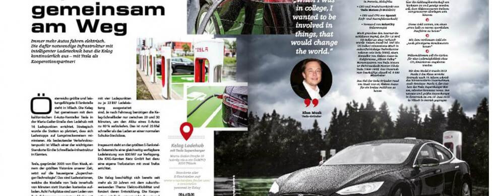 tesla model s bei e-tankstelle in villach - kaernten - österreich